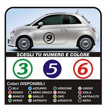 adesivi FIAT 500 NUMERI adesivi stickers 500 smart numeri portiera laterali NEW