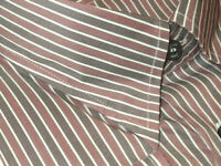 $900 NEW BRIONI GRAY & PALE RED STRIPE SILK COTTON SLIM FIT DRESS SHIRT 16 16.5