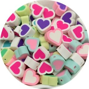 30pcs 10mm Love Shape Polymer Clay Spacer Beads For Handmade Jewelry Making