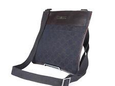GUCCI GG Web Canvas Leather Dark Brown Crossbody Shoulder Bag GS2364