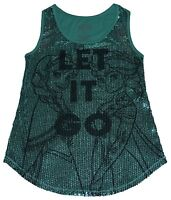 LAST ONE** DISNEY Frozen Let It Go Ana & Elsa Sequin Design Mint Green FREE SHIP
