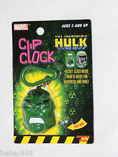 "INCREDIIBLE HULK  MARVEL 2003 CLIP CLOCK  HEAD IS APPROX. 2"" TALL"