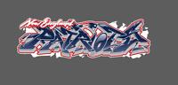 New England Patriots Graffiti Vinyl Decal 8x2.5