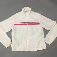Nike Jr Womens White Pink Windbreaker Nylon Lined Jacket Size Large 12-14 EUC
