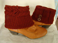Sebix Warm Winter Wool Burgundy Red Boot Cuffs Legwarmers