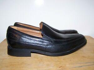 CLARKS Cushion Soft Ortholite Black Leather Slip On Mens Shoes UK-7,5G EU-41,5