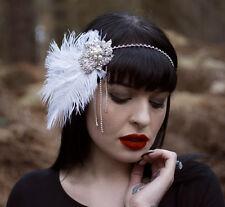 Silber Weiß Straußen-feder Kopfbedeckung Vintage 1920s Flapper-stirnband 1930s