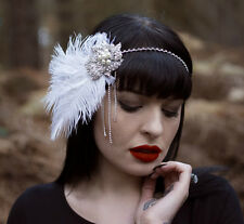 Silver White Ostrich Feather Headpiece Vintage 1920s Flapper Headband 1930s U20