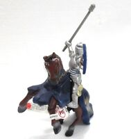 Bullyland 80715 + 80713 Cavaliere in armatura blu con cavallo marrone impennato
