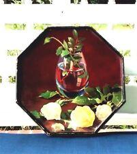 Vintage Rare Unique Octagon Rose Tin