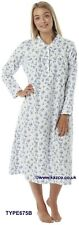 Ladies Winceyette Brushed 100 Cotton Flannelette Nightwear Nighties 16-18 Ivory and Pink
