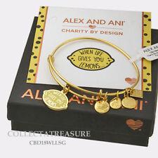 "Authentic Alex and Ani ""When Life Gives You Lemons"" Shiny Gold Charm Bangle CBD"
