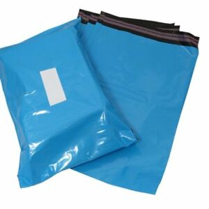 """50 x Blue Mailing Postage Bags 10 x 11"""" - Quality Resealable 70 microns Thick"""