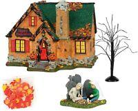 Happy Halloween House set Dept 56 Snow Village Halloween 6004822 Silver series Z