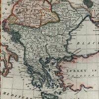 Turkey Hungary Balkans Romania c.1805 beautiful old map hand color