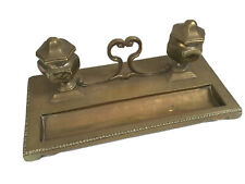 Antique Brass Desk Stand with Inkwells 30 x 14 cm