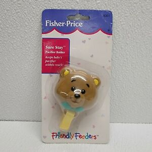 Vintage NOS Fisher Price Friendly Feeders Baby Bear Sure Stay Pacifier Holder