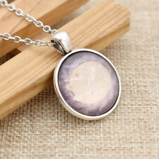 Elegant Sleeping Fox Cabochon Necklace Round Glass Alloy Chain for Women Jewelry