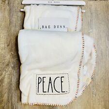 Rae Dunn Peace Throw Blanket 50 x 70� Super Soft White Colorful Trim Lgbtq