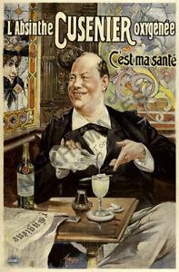 Absinthe Cusenier vintage liquor ad poster 24x36