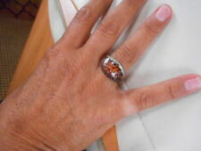 TIGER SHARK SKIN AMBERS & CHOCOLATE DOMED GLASS BLOWN EVERYDAY RINGS, SIZE M