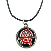 """Red Anarchy Symbol Circle A Punk Anarchist Gothic Pendant Choker Necklace 16-18"""""""