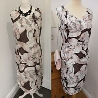 Jacques Vert Floral Shift Dress Pink  Brown Size 16 Mother of the bride wedding