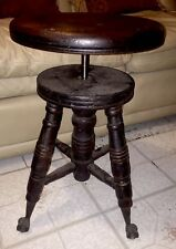 Wooden Piano Stool A. Merriam Co Antique 1880's Cast Iron Eagle Claw Glass Ball