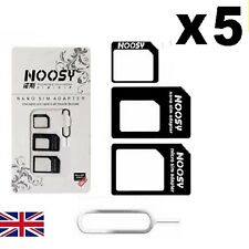 5 x Nano SIM Card to MICRO Standard SIM Adapter converter SET For iPhone Samsung