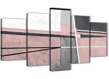 5 Pezzo Blush Rosa Grigio dipinto astratto Soggiorno Tela Art - 5393 - 160 cm