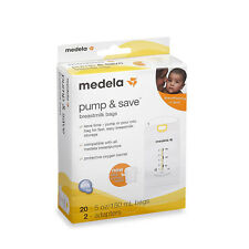 Medela Pump & Save Breastmilk Bags 20ct and 2 Adapters Storage NIB USA AUTHENTIC