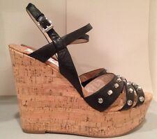 Michael Kors Jolie Studded Sandals Cork Leather Platform Wedge Black 9.5 M