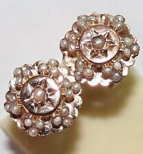 ANTIQUE VICTORIAN FRENCH 18K ROSE GOLD 38 SMALL PEARL FLOWER STUD EARRINGS c1880