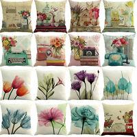 Watercolor Cushion Cover Pillow Case Cotton Flax Retro Sofa Home Decor 45 x 45cm