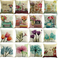 Watercolor Cushion Cover Pillow Case Cotton Flax Retro Sofa Home Decor 45 x 45cm