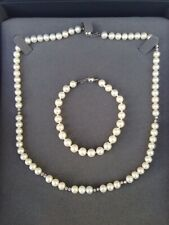 "Beaverbrooks Freshwater Pearl Necklace 18"" and Bracelet 9ct White Gold Clasps"