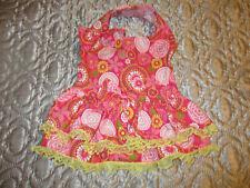 L female Dog dress pink [Flowers] cotton handmade