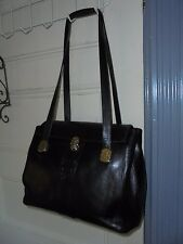"MARINO ORLANDI black Italian LEATHER shoulder bag satchel 13""L Vintage Large"