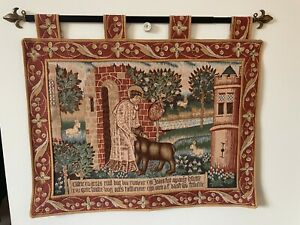 LOT-2: VINTAGE TAPESTRY WALL HANGING,AUBUSSON? LATIN? RELIGIOUS, MEDIEVAL,ANIMAL
