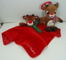 Rudolph The Red Nosed Reindeer Security Blanket w Rattle & Clip On Musical Plush
