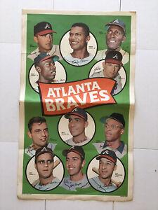 1969 Topps Team Posters #2 Atlanta Braves Poster Sheet Hank Aaron Phil Niekro