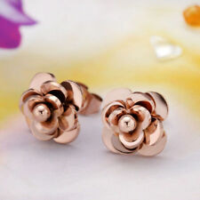 New Stainless Steel 14K Rose Gold Camellia Flower Earrings Fashion Jewelry Gift