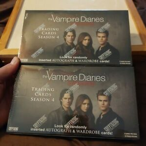 Vampire Diaries sealed 2 box card Lot season 4 w/1 autograph & 1 costume per box