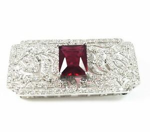 """USA""BROOCH Crystal PIN Wedding Bridal Cubic Zirconia Red Corundum Rectangle"