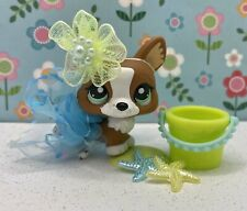 Authentic Littlest Pet Shop # 2150 Brown White Corgi Dog Green Eyes Easter