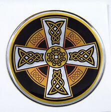Celtic Cross D1 Emblem domed decal on chrome milar Bike Motorcycle Car 62mm