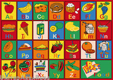 5x7 Educational Rug Kids ABC Food Names School Learning Time Alphabet Fruit