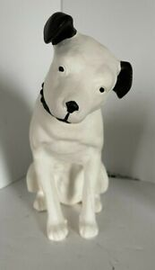 "Vtg RCA Victor Phonograph 10"" Tall Chalk Ware Nipper Dog Statue Masters Voice"
