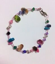 Glass Gemstone Bead Shell Bracelet Crystal Healing Gift Bridesmaid Summer Wrist