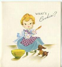 VINTAGE CUTE GIRL KITCHEN COOKING MIXING BOWL DACSHUND PUPPY DOG CARD ART PRINT